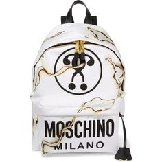 Moschino Leather-trimmed printed canvas backpack (2.120 BRL) ❤ liked on Polyvore featuring bags, backpacks, white, laptop backpacks, zipper pouch, canvas rucksack, moschino backpack and canvas laptop bag