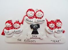 Personalized Snow Family of 6 Ornament with Black Dog