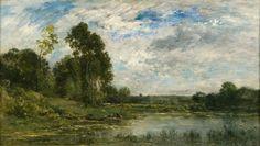 Charles François Daubigny, Barbizon, Lavandieres au bord de L'Oise, oil on canvas, 15 1/8 x 26 3/4