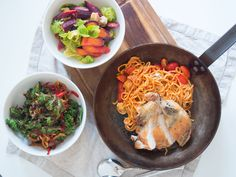 guineafowl with pasta and something fresh :D
