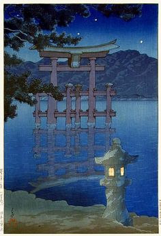 hanga gallery . . . torii gallery: Starry Night at Miyajima Shrine by Kawase Hasui