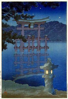 Galerie torii: Nuit étoilée à Miyajima Shrine par Kawase Hasui Japanese Painting, Japanese Prints, Museum Of Fine Arts, Art Museum, Kunsthistorisches Museum, Art Occidental, Japanese Woodcut, Art Asiatique, Sketches