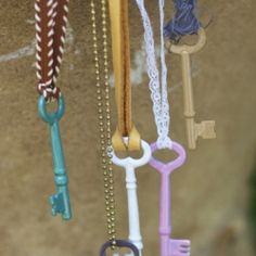 paint vintage keys with nail polish for enameled look, then tie to old ribbon/chain for instant necklace.