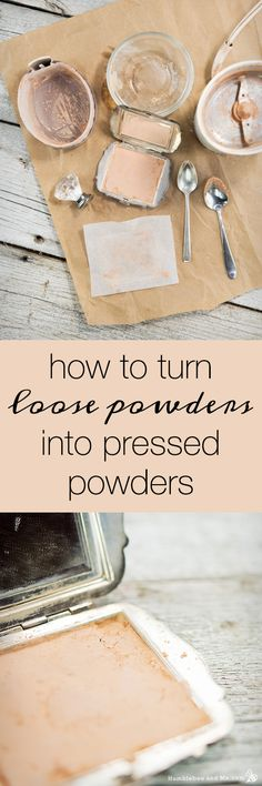 How to turn loose powders into pressed powders without using rubbing alcohol. These pressed powders are super creamy and a great way to re-use vintage makeup compacts!