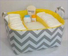 XL Diaper Caddy Fabric Storage Organizer, Basket Grey/White Chevron with Yellow Lining Zipper Pouch Tutorial, Purse Tutorial, Fabric Storage, Fabric Boxes, Fabric Basket, Wipes Container, Diaper Caddy, Multiplication For Kids, Baby Sewing Projects