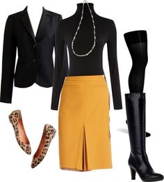 """Yellow Skirt for Work"" by gardekm on Polyvore"