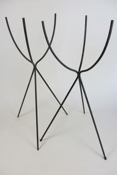 Mid-Century Modern Pair of Black Wire Bullet Planter Stands