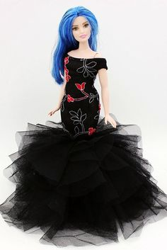 Cora Gu Classic Black/Red Rose Lace Mermaid Dress/Gowns For Curvy Barbie Doll/ Girl's 'Present/Curvy Barbie Dress