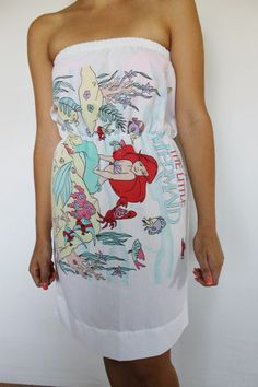 Little mermaid pillowcase dress... I totally had this sheet set when I was younger
