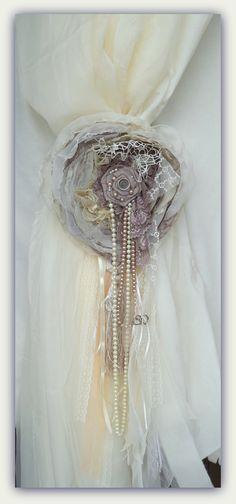 Shabby Chic Ivory Taupe Ashley Flower Curtain Tie Back - Shabby Rose Curtain Tie Back - Home Decor - Curtain accessory - Shabby chic Flowers