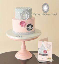 Pink, Grey & Black Cake