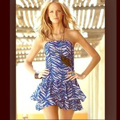 """Moda International Ruffle Drop-Waist Smocked Dress 100% Cotton - Torso section has side panels that provide stretch - Bust: 37"""", Waist: 35"""", Hips: 43"""", Length: 28"""" - purchased through Victoria's Secret Victoria's Secret Dresses Strapless"""