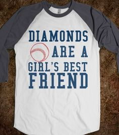 Diamonds are a Girl's Best Friend Baseball tee - Cranberry Designs - Skreened T-shirts, Organic Shirts, Hoodies, Kids Tees, Baby One-Pieces and Tote Bags