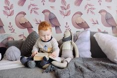 Retro birds in children room • Contemporary - Kids room - Animals - Nature - Wall Murals ✓ 365 Day Money Back Guarantee ✓ Consulting on the Pattern Selection ✓ 100% Safe✓ Set up online!