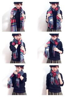 How to tie a large scarf How To Wear A Blanket Scarf, Ways To Wear A Scarf, Diy Scarf, How To Wear Scarves, Love Fashion, Winter Fashion, Womens Fashion, Simple Outfits, Cute Outfits