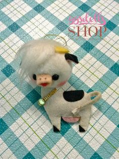 Here is very cute vintage Japan Christmas ornament made of felt Cow. In good to fair condition. The cow is looking very festive for Christmas. Perfect