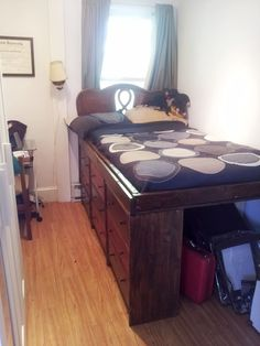 Or go for a high bed with tons of drawers. | 23 Hacks For Your Tiny Bedroom