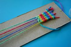 Pink and Green Mama: Cereal Box Weaving: Homemade Looms!