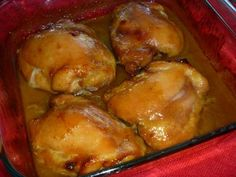 This picture doesn't look the most attractive but this is one of my favorite chicken thigh recipes - amazing over rice! I use boneless, skinless thighs - sear them and then bake them only 30 minutes!  YUMMY:)