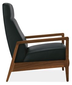 Inspired by Danish recliners popular in the 1950s and '60s, Westport features modern updates like comfortable cushions and a smooth reclining mechanism. The angular frame, tailored in soft leather, contrasts beautifully with a solid walnut base.