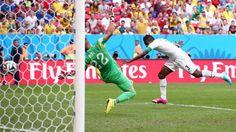 Gyan scoring against Portugal