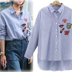 Venta caliente 2016 nuevas mujeres de la moda del bordado de rayas blusas camisas tops de marca de manga larga azul más el tamaño