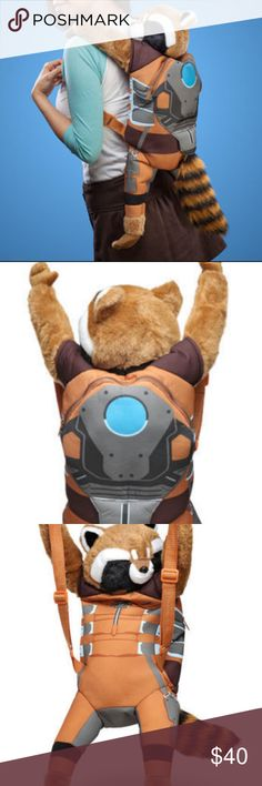 """Guardians of Galaxy Rocket Raccoon Plush Backpack Guardians of the Galaxy  26"""" tall Rocket Raccoon plush backpack buddy. Fits kids and many adults. The back compartment unzips to reveal a space big enough to hold a standard iPad. The adjustable nylon straps range to 18"""" long. For 3+ years. Plush head, arms, feet and tail. Adjustable polyester straps w plastic fittings w 18"""" maximum strap length. Made of polyester fiber/polyurethane foam. Machine wash. 26"""" tall ear to toe, 24"""" paw to paw…"""