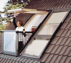 Skylight Window Easily Transforms into Rooftop Balcony Cabrio designed by Velux transforms a skylight into a small balcony by simply opening its frame.Cabrio designed by Velux transforms a skylight into a small balcony by simply opening its frame.