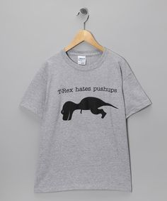 This Heather Gray 'T-Rex Hates Pushups' Tee - Boys & Adult by Crazy Dog is perfect! #zulilyfinds