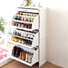 16 Hidden Storage Hacks for Your Living Room You'll swoon over these hidden living room hacks. Shoe Storage Solutions, Closet Shoe Storage, Diy Shoe Rack, Shoe Racks, Shoe Hanger, Small Space Storage, Hidden Storage, Diy Storage, Bedroom Storage Ideas For Small Spaces