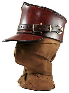STEAMPUNK LEATHER SHAKO hat brown leather custom made buckles and gear decor Custom design. $175.00, via Etsy.