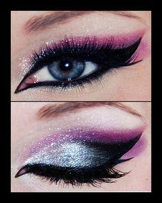 Silver glitter purple crease