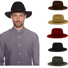 1954f696cf0 Fashion Wool Summer Men s Crushable Genuine Felt Fedora Bush Sun Hat Trilby  Gorra Toca Sombrero with leather band(China (Mainland)) Visit page View  image