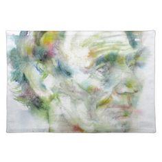 ABRAHAM LINCOLN - watercolor portrait Placemat - portrait gifts cyo diy personalize custom