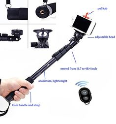 LEAPCAMATM New Design Profesional Self Portrait Monopod Selfie Stick With Phone Holder For Samsung iPhone Blackberry With Bluetooth Remote Camera Wireless Shutter Self Locking Alluminum Monopod -- Want to know more, click on the image.