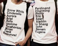 Cute couples shirt! but they mixed up Pocahontas' and Mulan's men....
