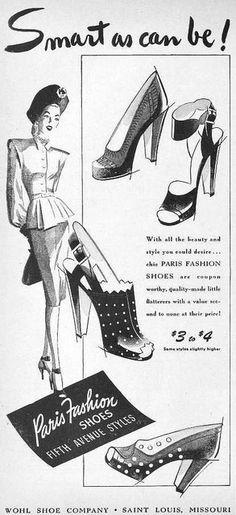 Paris Fashion Shoes, October 1945. #shoes #vintage #1940s