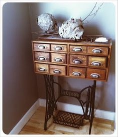 Vintage Sewing Dishfunctional Designs: Vintage Library Card Catalogs Transformed Into Awesome Furniture - Creative ideas in crafts and upcycled, innovative, repurposed art and home decor. Sewing Machine Drawers, Sewing Machine Tables, Antique Sewing Machines, Sewing Tables, Repurposed Items, Repurposed Furniture, Painted Furniture, Furniture Makeover, Diy Furniture