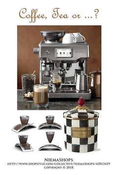 Coffee, Tea or ...? (click white dots for more) Essentials for coffee lovers! Essentials for coffee lovers; touch espresso machine, espresso cups & canister pictured |  #coffeegiftideas  #coffeetabledecor #shopthelook #ShopStyle
