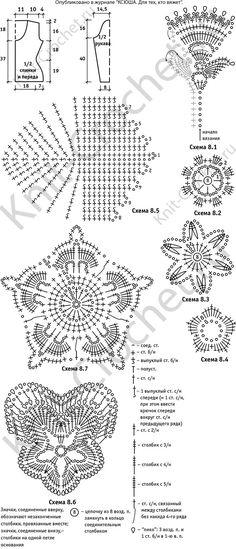 Выкройка, схемы узоров с описанием вязания крючком женского жакета размера 44-46.