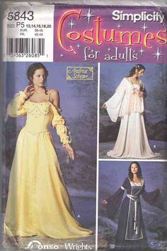Medieval dress costume pattern, adult princess costume pattern, Simplicity 5843, Sewing pattern, dressmaking pattern, complete and uncut by Rethreading on Etsy