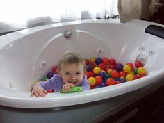 Dont forget the bathtub - gotta contain those balls - hey, I have wasted the opportunity to contain multiple toys this way. Bath time!