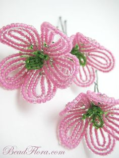 Beautiful hand-beaded set of three hair pins.