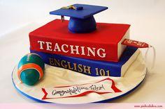 @KatieSheaDesign ♡❤ #Cakes ❤♡ ♥ ❥ Graduation Cap Sports and Books Cake