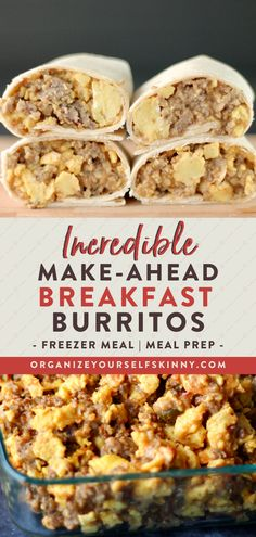 Make-ahead breakfast burritos are perfect during the busy week when you need a quick healthy grab and go breakfast option! Make Ahead Breakfast Burritos, Grab And Go Breakfast, Make Ahead Meals, Meal Prep For Breakfast, Easy Breakfast Ideas, Healthy Burritos, Freezer Breakfast Burritos, Healthy Breakfast On The Go For Kids, Low Carb Quick Breakfast