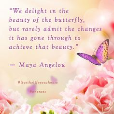 """We delight in the beauty of the butterfly, but rarely admit the changes it has gone through to achieve that beauty."" ― Maya Angelou #Oneness #LiveTheLifeYouChoose"