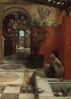 images of orientalist paintings | OLEANDER: The painting by Sir Lawrence Alma-Tadema, 'An Oleander ...
