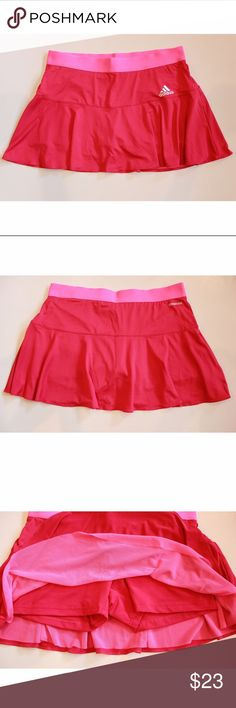 "Pink Tennis Skort Climacool Skirt Style M33078 Measurements were taken with garment laid flat: Waist: 15"" Length: 12.5""   If you have any questions please let me know and I will be happy to reply. Adidas Skirts"