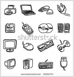 Computer and hardware objects or icons set  16 objects, cartoon vector and illustration, hand drawn, sketch style, isolated on white background