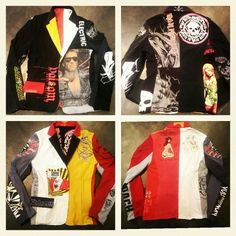 Reversible #upcycledblazer I made for my husband Ryan Sarkis Johnson for his 40th bday out of a bunch of his old #tshirts including....  #xlargemanufacturing #lakers, #MonkeyWench, #skateboardingsavedmylife, #basketball, #darkstar , #skateboarding, #vans, #zero,  #liquidchickenskateboards , #volcom, #ironmaiden , #britneyspears (ha!), #volcom , #terminator , and a shirt that #jacknicholson gave him where he actually drew a sketch of Santa smoking.